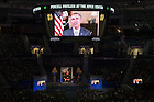 Mar. 4, 2015; President Barack Obama gives remarks via video during a tribute ceremony in the Purcell Pavilion to honor the life of the late President Emeritus Rev. Theodore M. Hesburgh, C.S.C. (Photo by Matt Cashore/University of Notre Dame)