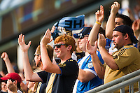 Philadelphia Union fans celebrate a goal. The Philadelphia Union defeated Toronto FC 3-0 during a Major League Soccer (MLS) match at PPL Park in Chester, PA, on July 8, 2012.