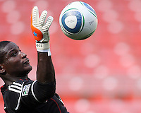 Bill Hamid of DC United at a practice session for DC United and AC Milan at RFK Stadium in Washington DC on may 25 2010.
