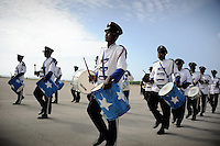 Mogadishu/Somalia 2012 - The marching band awaits the President´s arrival at the airport of Mogadishu, after having attended talks in Nairobi (Kenya).