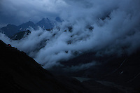 Storm in Pasterze Glacial Valley, Grosglockner Mountain, the highest peak of Austria at cloudy and rainy morning. Hohe Tauern National Park, Carinthia, Austria