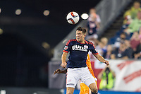 Foxborough, Massachusetts - August 15, 2015:  The New England Revolution (red and white) beat the Houston Dynamo (orange and white) 2-0 in a Major League Soccer (MLS) match at Gillette Stadium.
