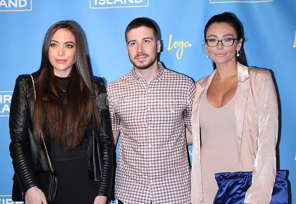 "NEW YORK, NY April 20, 2017 Samantha Giancola, Vinny Guadagnino, Jenni ""JWOWW"" Farley attend Logo's Fire Island Premiere Party  at Atlas Social Club  in New York April 20,  2017. Credit:RW/MediaPunch"