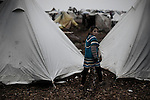 SYRIA, ATMEH. Camp for displaced Syrians in Atmeh on January 12, 2013. The camp is on the border with Turkey and is providing shelter to nearly 13,000 people; most of them are children. ALESSIO ROMENZI