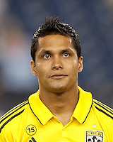 Columbus Crew forward Jairo Arrieta (25). In a Major League Soccer (MLS) match, the New England Revolution defeated Columbus Crew, 2-0, at Gillette Stadium on September 5, 2012.