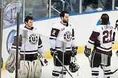 Troy Grosenick (Union - 1), Nolan Julseth-White (Union - 2), Wayne Simpson (Union - 21) - The University of Minnesota-Duluth Bulldogs defeated the Union College Dutchmen 2-0 in their NCAA East Regional Semi-Final on Friday, March 25, 2011, at Webster Bank Arena at Harbor Yard in Bridgeport, Connecticut.