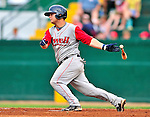 24 July 2010: Lowell Spinners infielder Miles Head in action against the Vermont Lake Monsters at Centennial Field in Burlington, Vermont. The Spinners defeated the Lake Monsters 11-5 in NY Penn League action. Mandatory Credit: Ed Wolfstein Photo