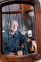 Hebrides, Scotland, May 2010. Jacob Jan Dam, Master Mariner and part owner of Tallship Thalassa. Dutch Tallship Thalassa sails between the islands along the Scotish west coast in search of the quality single malt whisky that is produced by the many distilleries. Photo by Frits Meyst/Adventure4ever.com