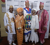 New York City, NY. October 20, 2014. Dr. B. Angeloe Sr., Karen Thorto, Chuck Davis, DeBorah Davis Gray, McDaniel Roberts at The 30th anniversary of The Bessies, the New York Dance and Performance Awards, held at the world famous Apollo Theatre in Harlem. Photo by Marco Aurelio/VIEWpress