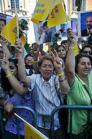 Roma 29 Luglio 2009.Manifestazione degli Iraniani del Consiglio Nazionale della resistenza Iraniana..Maryam Rajavi, Presidente del Consiglio nazionale della resistenza iraniana, ricevuta in Campidoglio dal sindaco di Roma Gianni Alemanno..Maryam Rajavi, president elect  of the National Council of Resistance of Iran received in the Capitol by the mayor of Rome Gianni Alemanno..Supporters of The National Council of Resistance of Iran (NCRI), they manifest for Maryam Rajavi president elect of the National Council of Resistance of Iran