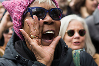 NEW YORK, NY - APRIL 15: A woman shouts slogans against president Trump as activists take part in a Tax Day protest on April 15, 2017 in New York City. Thousands of activists march to Trump Tower to demand that President Donald Trump release his tax returns. Photo by VIEWpress/Eduardo MunozAlvarez