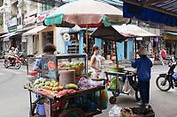 Hanoi<br /> , Vietnam - 2007 File Photo -<br /> <br />  fresh fruits  carts vendors in Hanoi street,<br /> <br /> <br /> <br /> photo : James Wong-  Images Distribution