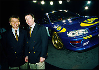 BNPS.co.uk (01202 558833)<br /> Pic: H&amp;H/BNPS<br /> <br /> Subaru drivers Kenneth Eriksson and Colin Mcrae.<br /> <br /> A remarkable rally car that was driven by racing legend Colin McRae has emerged for &pound;200,000. <br /> <br /> The Subaru Impreza was the Japanese marque's first ever 'World Rally Car' and was produced ahead of the 1997 World Rally Championships. <br /> <br /> The International Automobile Federation announced changes to allow vehicle specifications ahead of the season and the Subaru World Rally Team responded with the model shown here. <br /> <br /> This particular example is so significant because it's chassis 001 - the first to ever come off the production line. <br /> <br /> The 1997 Subaru Impreza WRC will be sold by H&amp;H auctioneers at the Royal Automobile Club in Kent on June 6