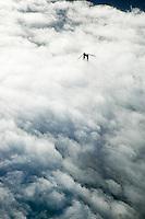 aerial photograph Golden Gate bridge in fog, San Francisco, California