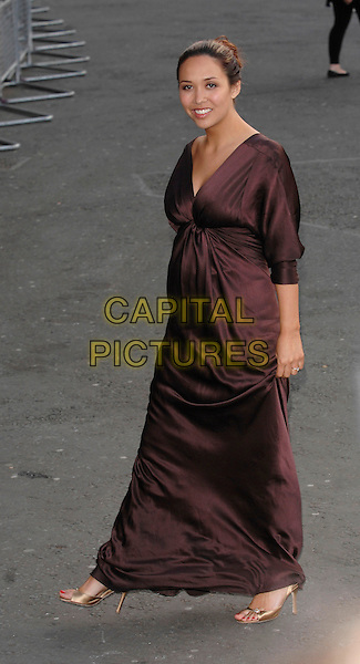 MYLEENE KLASS.Classical Brit Awards 2007.arrivals at the Royal Albert Hall.3rd May 2007 London, England.full length pregnant brown dress satin gold heels .CAP/PL.©Phil Loftus/Capital Pictures