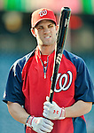 19 May 2012: Washington Nationals outfielder Bryce Harper awaits his turn in the batting cage prior to a game against the Baltimore Orioles at Nationals Park in Washington, DC. The Orioles defeated the Nationals 6-5 in the second game of their 3-game series. Mandatory Credit: Ed Wolfstein Photo