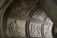 Reliefs, vaulting of the funerary Monument of Francois I (1494 - 1547) and Claude of France (1499 - 1524), 1548 - 1570, marble, by Pierre Bontemps, commissionned by Henry II, Abbey church of Saint Denis, Seine Saint Denis, France. Picture by Manuel Cohen