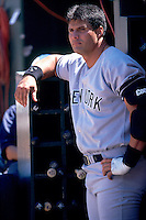 OAKLAND, CA: Jose Canseco of the New York Yankees in action during a game against the Oakland Athletics at the Oakland Coliseum in Oakland, California in 2000. (Photo by Brad Mangin).