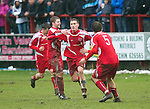 Brechin v St Johnstone....12.03.11  Scottish Cup Quarter Final.Rory McAllister celebrates his penalty.Picture by Graeme Hart..Copyright Perthshire Picture Agency.Tel: 01738 623350  Mobile: 07990 594431