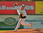 30 June 2012: Vermont Lake Monsters pitcher Andres Avila on the mound during a game against the Lowell Spinners at Centennial Field in Burlington, Vermont. Mandatory Credit: Ed Wolfstein Photo