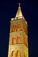 The Campinale bell tower of the St Anastasia Cathedral. Zadar, Croatia