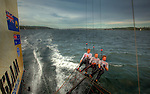 Onboard the 18 feet skiff Slam sailed by Grant Rollerson along with experienced crew members Anthony (Jack) Young and Peter Nicholson in Sydney Harbour..The 18ft Skiff is considered the fastest class of sailing skiffs. The class has a long history beginning with races on Sydney Harbour, Australia in 1892. It is the fastest conventional non-foiling monohull on the yardstick rating.