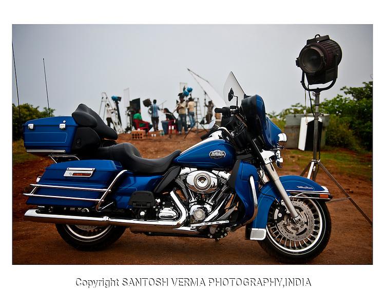 A Harley-Davidson parked at a film shoot in India's Bollywood capital, Mumbai. Photography © Santosh Verma
