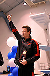 24 MAR 2012: Martin Grodzki of the University of Georgia reacts after receiving his first place trophy after winning the 1650 yard freestyle race during the Division I Men's Swimming and Diving Championship held at the Weyerhaeuser King County Aquatic Center in Seattle, WA.  Grodzki swam 14:24.08 to win the event and set a new NCAA meet record.  Rod Mar/ NCAA Photos