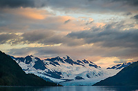 Sunset over the Chugach mountains and Harriman tidewater glacier, Chugach National Forest, Prince William Sound, Alaska.