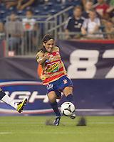 Monarcas Morelia midfielder Hugo Droguett (11) passes the ball. Monarcas Morelia defeated the New England Revolution, 2-1, in the SuperLiga 2010 Final at Gillette Stadium on September 1, 2010.