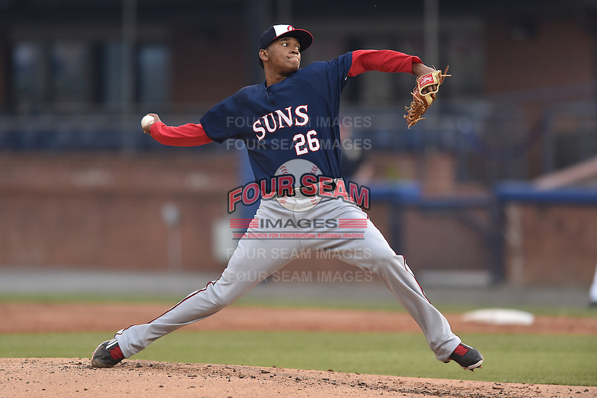 Hagerstown Suns starting pitcher Jefry Rodriguez (26) swings at a pitch during a game against the Asheville Tourists at McCormick Field on April 26, 2016 in Asheville, North Carolina. The Suns defeated the Tourists 8-7. (Tony Farlow/Four Seam Images)