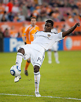 Edson Buddle of the Los Angeles Galaxy attempts to one touch the ball during the regular season game between the Los Angeles Galaxy and the Houston Dynamo at Robertson Stadium in Houston, TX on April 10, 2010. Los Angeles 2, Houston 0.
