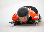 14 December 2007: Katie Uhlaender, racing for the USA, starts her second run of the FIBT World Cup Skeleton Competition at the Olympic Sports Complex on Mount Van Hoevenberg, at Lake Placid, New York, USA. Uhlaender finished in first place for the day...Mandatory Photo Credit: Ed Wolfstein Photo
