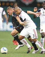Danny Allsopp #9 of D.C. United battles Robbie Russell #3 of Real Salt Lake during an MLS match at RFK Stadium, on June 5 2010 in Washington DC. The game ended in a 0-0 tie.