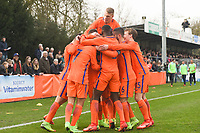 20170314 - UDEN , NETHERLANDS : Dutch players celebrating their opening goal pictured during the UEFA Under 17 Elite round game between The Netherlands U17 and Belgium U17, on the first matchday in group 5 of the Uefa Under 17 elite round in The Netherlands , tuesday 14 th March 2017 . PHOTO SPORTPIX.BE | DIRK VUYLSTEKE
