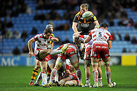 Greig Laidlaw of Gloucester Rugby box-kicks the ball. Aviva Premiership match, between Wasps and Gloucester Rugby on November 8, 2015 at the Ricoh Arena in Coventry, England. Photo by: Patrick Khachfe / Onside Images