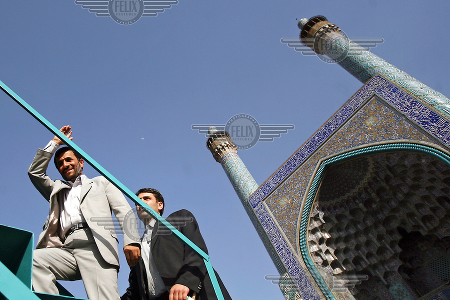 President Mahmoud Ahmadinejad steps up to the podium in front of the Naqshe Jahan Mosque in the central Iranian city of Isfahan (Esfahan).