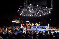 Luchadores (fighters) face each other in the ring. Lucha Libre is a style of wrestling started in Mexico in 1933. The name means Free Fight, and matches tend to be focussed on spectacle and theatre with fans cheering for their favourite characters, who wear masks while jumping from the ropes, flipping opponents, and occasionally crashing into the crowd..&copy;Jacob Silberberg/Panos/Felix Features.