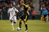 Columbus Crew defender Chad Marshall steps over the ball. The LA Galaxy defeated the Columbus Crew 3-1 at Home Depot Center stadium in Carson, California on Saturday Sept 11, 2010.