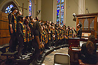 Jan. 18, 2016; Voices of Faith Gospel Choir sing during mass to honor the life and legacy of Dr. Martin Luther King in the Sacred Heart of the Basilica. (Photo by Barbara Johnston/University of Notre Dame)