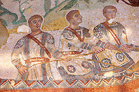 Fisherman mosaic. Roman mosaics at the Villa Romana del Casale which containis the richest, largest and most complex collection of Roman mosaics in the world. Constructed  in the first quarter of the 4th century AD. Sicily, Italy. A UNESCO World Heritage Site.