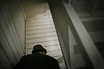 """Writer and poet August Kleinzahler, 60, climbs the stairs to his flat, at his home, in San Francisco, Ca., on Friday, February 6, 2008. Kleinzahler recently published his tenth collection of poetry, """"Sleeping it off in Rapid City"""" last year."""