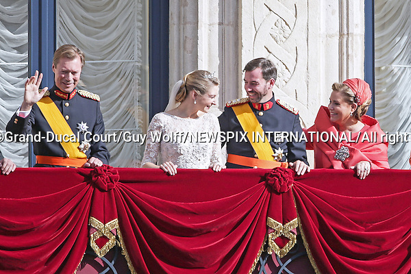 """Wedding of HRH the Hereditary Grand Duke Guillaume and Countess Stéphanie de Lannoy.The couple make an appearnce on the balcony of the Grand-Ducal Palace,  Luxembourg_20-10-2012.Mandatory credit photo: ©Grand-Ducal Court/Guy Wolff/NEWSPIX INTERNATIONAL..(Failure to credit will incur a surcharge of 100% of reproduction fees)..                **ALL FEES PAYABLE TO: """"NEWSPIX INTERNATIONAL""""**..IMMEDIATE CONFIRMATION OF USAGE REQUIRED:.Newspix International, 31 Chinnery Hill, Bishop's Stortford, ENGLAND CM23 3PS.Tel:+441279 324672  ; Fax: +441279656877.Mobile:  07775681153.e-mail: info@newspixinternational.co.uk"""