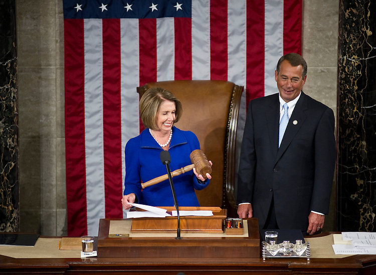 WASHINGTON, DC- Jan. 05: House Speaker John A. Boehner, R-Ohio, accepts the gavel from outgoing House Speaker Nancy Pelosi, D-Calif., as the 112th Congress convenes at the U.S. Capitol. (Photo by Scott J. Ferrell/Congressional Quarterly)
