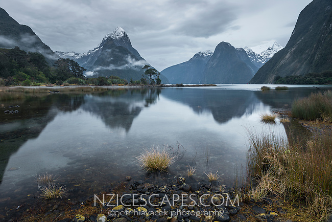 Moody winter dawn in Milford Sound with Mitre Peak, Fiordland National Park, Southland, World Heritage Area, New Zealand