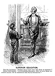 """Superior Education. Page boy (to Jeames). """"Where shall I put this 'ere dish of ammonds?"""" Jeames with dignity). """"I'm surprised, Harthur, that at your hage you 'aven't learnt 'ow to pernounce the har in harmonds.!"""""""