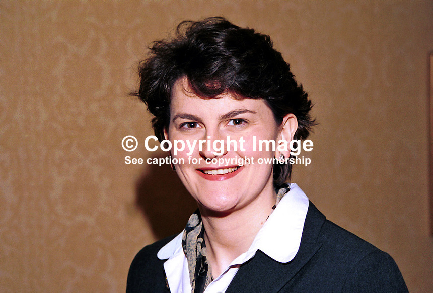 Arlene Foster, Enniskillen, N Ireland, UK, prominent member, Ulster Unionist Party. Ref: 199910302, Taken at Unionist Party Conference, Enniskillen, N Ireland, in October 1999...Copyright Image from Victor Patterson, 54 Dorchester Park, Belfast, UK, BT9 6RJ..Tel: +44 28 9066 1296.Mob: +44 7802 353836.Voicemail +44 20 8816 7153.Skype: victorpattersonbelfast.Email: victorpatterson@mac.com.Email: victorpatterson@ireland.com (back-up)..IMPORTANT: If you wish to use this image or any other of my images please go to www.victorpatterson.com and click on the Terms & Conditions. Then contact me by email or phone with the reference number(s) of the image(s) concerned.