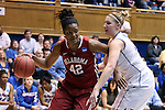 22 March 2014: Oklahoma's Kaylon Williams (42) and DePaul's Megan Podkowa (right). The DePaul University Blue Demon played the University of Oklahoma Sooners in an NCAA Division I Women's Basketball Tournament First Round game at Cameron Indoor Stadium in Durham, North Carolina. DePaul won the game 104-100.