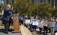TALLAHASSEE, FL. 4/1/03-Senate President Jim King speaks during the AARP rally Tuesday at the Capitol in Tallahassee. King, who was warmly welcomed at the AARP rally for his stance against capping damages that medical facilities can be sued for, was booed last week for the same stance at a rally attended by doctors and other medical professionals. COLIN HACKLEY PHOTO