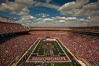 General view of Darrell K. Royal-Texas Memorial Stadium, elevated from the south end zone. Pre-game with giant Texas state flag and Longhorn Band in T Formation on field. University of Texas-El Paso Miners at Univeristy of Texas Longhorns. Photographed at Darrell K. Royal-Texas Memorial Stadium in Austin, Texas on Saturday, September 26, 2009. Photograph &copy;&nbsp;2009 Darren Carroll